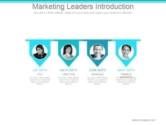 Marketing Leaders Introduction Ppt PowerPoint Presentation Slide