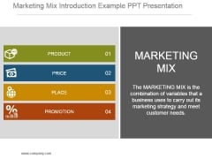 Marketing Mix Introduction Example Ppt Presentation