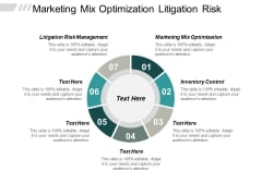 Marketing Mix Optimization Litigation Risk Management Inventory Control Ppt PowerPoint Presentation Infographics Show