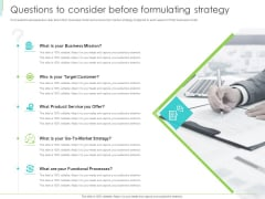Marketing Plan Implementation Questions To Consider Before Formulating Strategy Elements PDF
