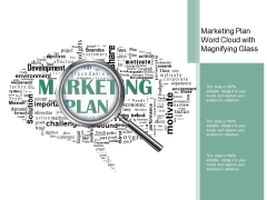 Marketing Plan Word Cloud With Magnifying Glass Ppt Powerpoint Presentation File Slides