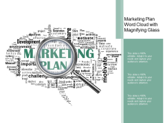 Marketing Plan Word Cloud With Magnifying Glass Ppt PowerPoint Presentation Outline Slideshow