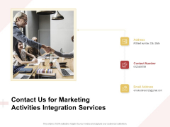Marketing Strategy Contact Us For Marketing Activities Integration Services Brochure PDF