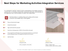 Marketing Strategy Next Steps For Marketing Activities Integration Services Themes PDF