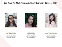 Marketing Strategy Our Team For Marketing Activities Integration Services Introduction PDF