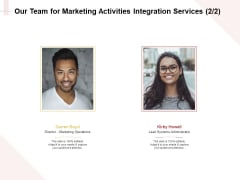 Marketing Strategy Our Team For Marketing Activities Integration Services Systems Demonstration PDF