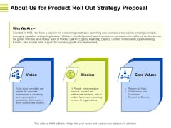 Marketing Strategy Proposal For Product Launch About Us For Product Roll Out Strategy Proposal Graphics PDF
