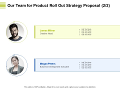 Marketing Strategy Proposal For Product Launch Our Team For Product Roll Out Strategy Proposal Business Themes PDF
