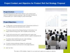 Marketing Strategy Proposal For Product Launch Project Context And Objective For Product Roll Out Strategy Proposal Designs PDF