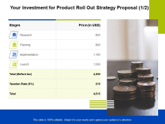 Marketing Strategy Proposal For Product Launch Your Investment For Product Roll Out Strategy Proposal Elements PDF
