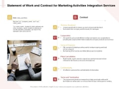 Marketing Strategy Statement Of Work And Contract For Marketing Activities Integration Services Infographics PDF