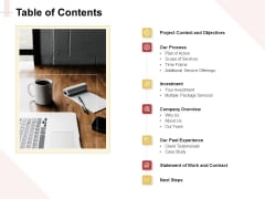 Marketing Strategy Table Of Contents Icons PDF