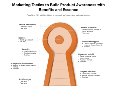 Marketing Tactics To Build Product Awareness With Benefits And Essence Ppt PowerPoint Presentation File Images PDF