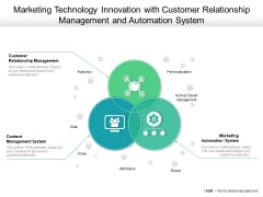 Marketing Technology Innovation With Customer Relationship Management And Automation System Ppt PowerPoint Presentation Icon Layouts PDF