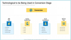 Marketing Technology Stack Technological To Be Being Used In Conversion Stage Summary PDF