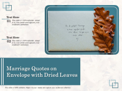 Marriage Quotes On Envelope With Dried Leaves Ppt PowerPoint Presentation Gallery Inspiration PDF
