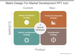 Matrix Design For Market Development Ppt Icon