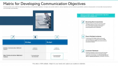 Matrix For Developing Communication Objectives Ppt Icon Model PDF
