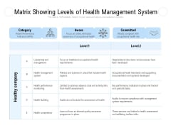 Matrix Showing Levels Of Health Management System Ppt PowerPoint Presentation Infographics Files