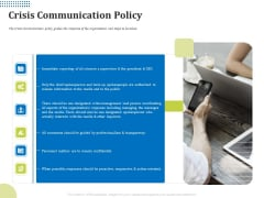 Means Of Communication During Disaster Management Crisis Communication Policy Ppt Icon Maker PDF