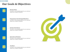 Means Of Communication During Disaster Management Our Goals And Objectives Ppt Infographic Template Inspiration PDF