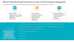 Measure Manufacturing Companies Can Take To Foster Employee Engagement Ppt Slides Master Slide PDF