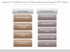 Measure The Effectiveness Of Sales Advertising Diagram Ppt Slides