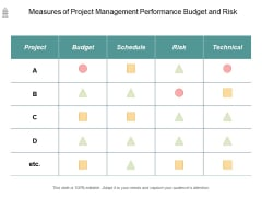 Measures Of Project Management Performance Budget And Risk Ppt PowerPoint Presentation Outline Graphics Design