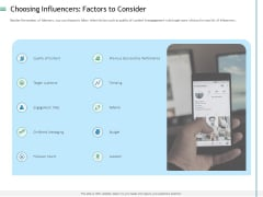 Measuring Influencer Marketing ROI Choosing Influencers Factors To Consider Introduction PDF
