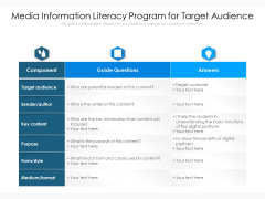 Media Information Literacy Program For Target Audience Ppt PowerPoint Presentation Summary Visuals PDF