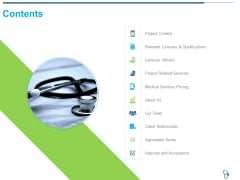 Medical Consultancy Contents Ppt Slides Picture PDF