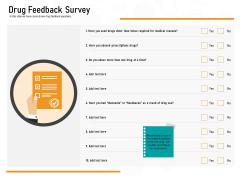 Medicine Promotion Drug Feedback Survey Ppt PowerPoint Presentation Gallery Portfolio PDF