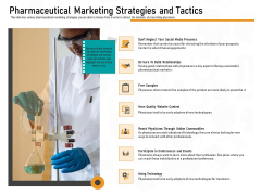 Medicine Promotion Pharmaceutical Marketing Strategies And Tactics Ppt PowerPoint Presentation Slides Template PDF