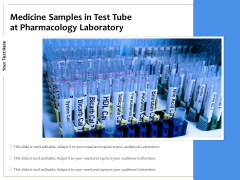 Medicine Samples In Test Tube At Pharmacology Laboratory Ppt PowerPoint Presentation Show Graphic Images PDF