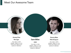 Meet Our Awesome Team Introduction Ppt Powerpoint Presentation Portfolio Backgrounds