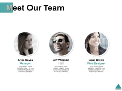 Meet Our Team Introduction Ppt PowerPoint Presentation Summary Show