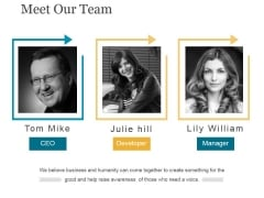 Meet Our Team Ppt PowerPoint Presentation Deck