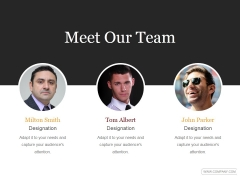 Meet Our Team Ppt PowerPoint Presentation Designs Download