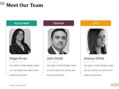 Meet Our Team Ppt PowerPoint Presentation Gallery Example