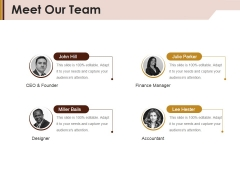 Meet Our Team Ppt Powerpoint Presentation Ideas Graphics Pictures