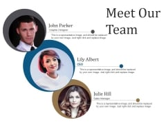 Meet Our Team Ppt PowerPoint Presentation Infographics Templates
