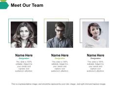 Meet Our Team Ppt PowerPoint Presentation Outline Format Ideas