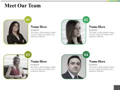 Meet Our Team Ppt PowerPoint Presentation Pictures Inspiration