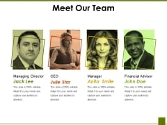 Meet Our Team Ppt PowerPoint Presentation Pictures Themes