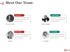 Meet Our Team Ppt PowerPoint Presentation Portfolio Shapes