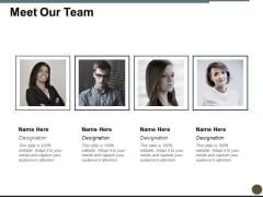 Meet Our Team Ppt PowerPoint Presentation Slides Objects