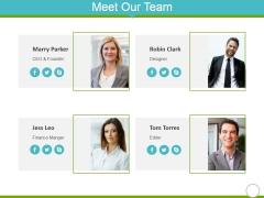 Meet Our Team Ppt Powerpoint Presentation Slides Slideshow