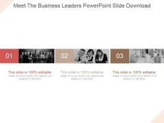 Meet The Business Leaders Ppt PowerPoint Presentation Outline