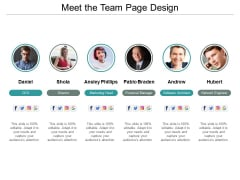 Meet The Team Page Design Ppt PowerPoint Presentation Summary Maker