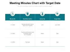 Meeting Minutes Chart With Target Date Ppt PowerPoint Presentation Portfolio